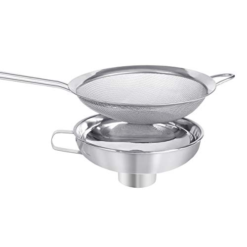 Canning Funnel,Fine Mesh Strainer Sieve and Stainless Steel Funnel Kitchen Funnel for Wide and Regular Jars Whippers and Transferring Liquid and Dry Ingredients