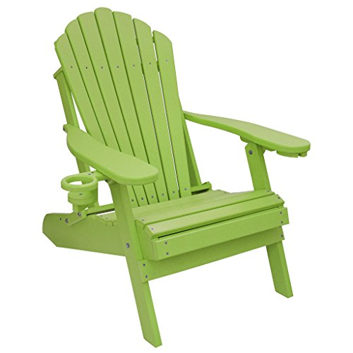 ECCB Outdoor Outer Banks Deluxe Oversized Poly Lumber Folding Adirondack Chair (Lime) ()