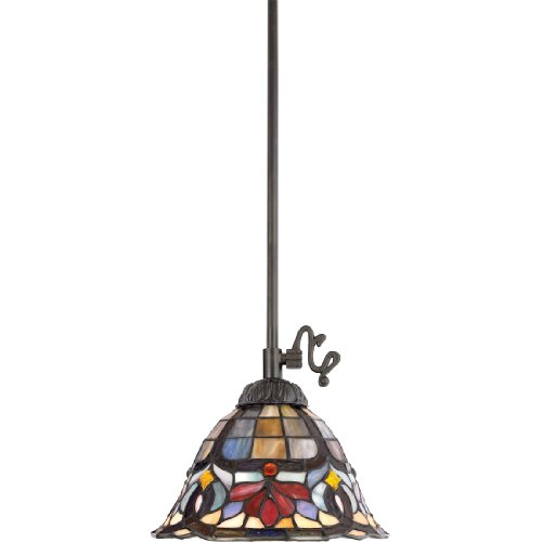 Quoizel Stained Glass Pendant - Quoizel TF1536VB Hyacinth Tiffany Mini Pendant Lighting, 1-Light, 100 Watts, Vintage Bronze (9