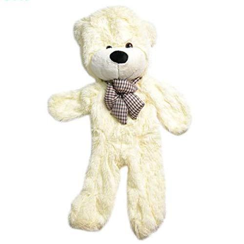 (Toy Amigo Giant Lifelike Stuffable Teddy Bear Unstuffed Plush Shell with Bow Make Your Own Teddy Huge Size 47'' (Cream White))