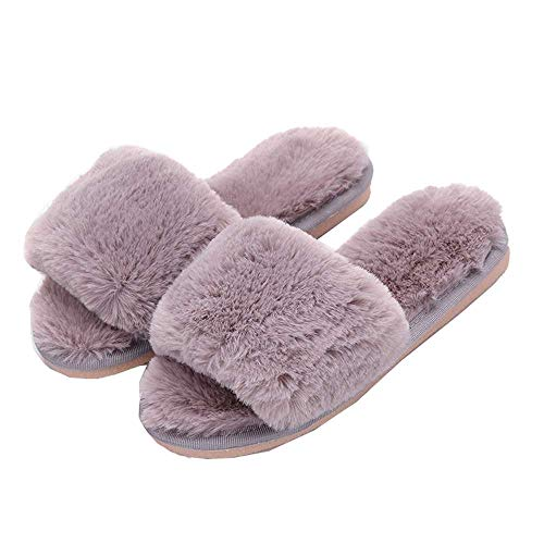 Women Grey 3 Plush Slide Slippers Toe Indoor Shoes Cute Warm Fluffy House Kids Open Fur O64rOq