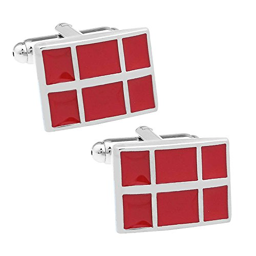 Red Mosaic Square Cufflinks