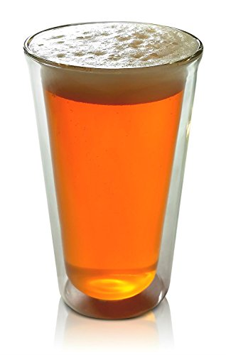 Craft Beer Glass Double Wall Insulated Real Glass Tumbler 14 Ounces Pint-Shape by Princeton Wares (Beer Glass Cold)