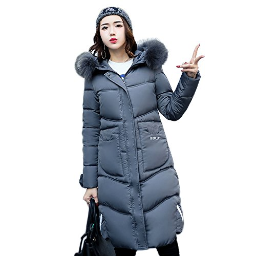 Xuanku Down Large Women1312536 Jacket Long Collar Autumn Grey Loose Loose Hair rfwrq05