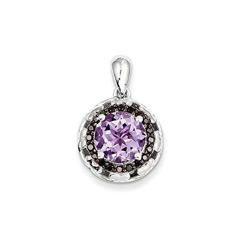 Color Si1 Charm (Sterling Silver Rose de France Purple Quartz & Black Diamond Pendant (Color H-I, Clarity SI1-SI2))