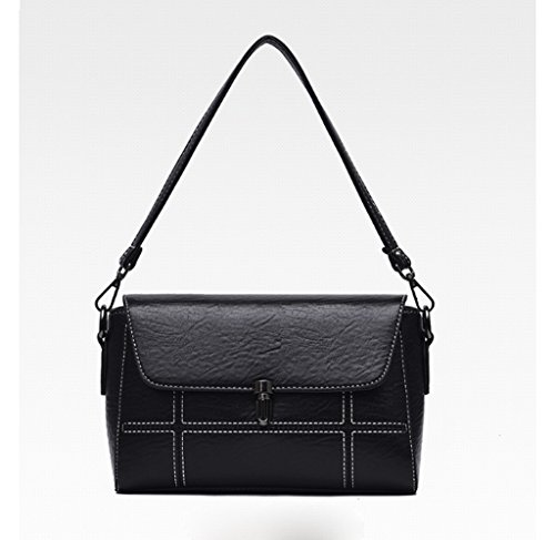 Handbag Bolso de Mensajero de la Moda Coreana, Bolso de Hombro de Cuero Suave Simple de Joker, Bolso de Crossbody. A+ (Color : Negro) Negro