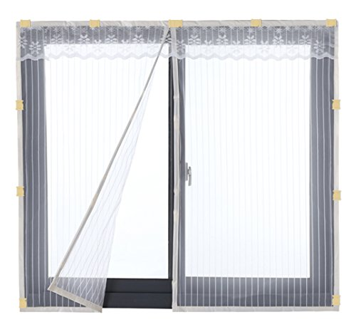 Liveinu - Cortina de malla magnética reforzada para ventana antimoscas, mosquitos, insectos, con imanes para ventana y...