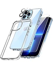TOCOL 3 in 1 Designed for iPhone 13 Pro Max 5G Case 6.7 inch - With 2Pcs Tempered Glass Screen Protector + 2Pcs Camera Lens Protector, [Yellowing-Proof] Military Grade Protection, Shock-Absorbing Cover