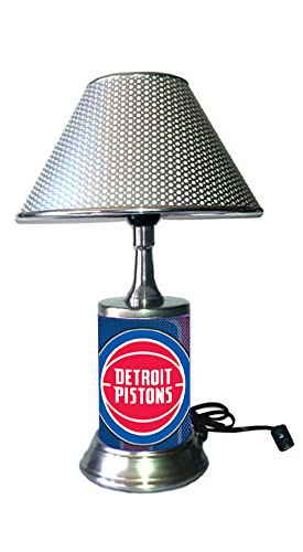 JS Pistons Table Lamp with Chrome Shade, Your Favorite Team Plate Rolled in on The lamp Base, Detroit P