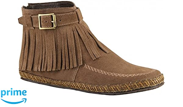 Womens Apache Ankle High Suede Fringed Boot
