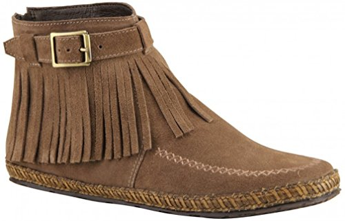 Bottero Womens Apache Ankle High Suede Fringed Boot, Taupe, 9 B(M) (Brown Apache Fringed Shoes)