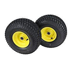 (Set of 2) 15x6.00-6 Tires & Wheels 4 Ply for