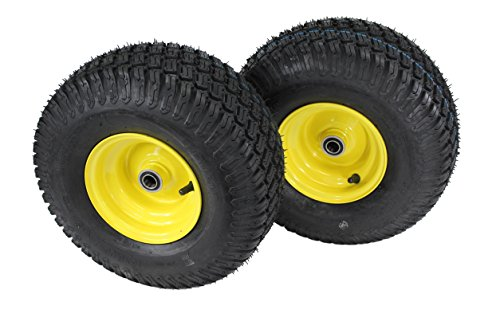 John Tires Tractor Deere ((Set of 2) 15x6.00-6 Tires & Wheels 4 Ply for Lawn & Garden Mower Turf Tires .75