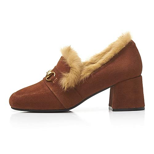 Women's Comfort Winter Shoes Suede Brown Heel amp; Black ZHZNVX Black Chunky Heels Fall HRWqcnd