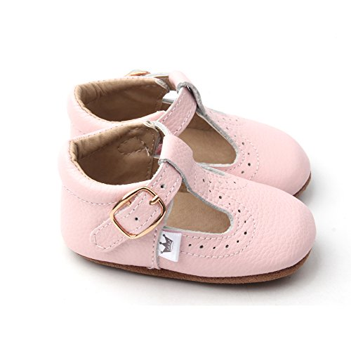 Liv & Leo Baby Girls Mary Jane T-bar T-Strap Oxford Soft Sole Crib Shoes Leather