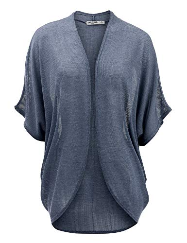 LL WSK1528 Womens Short Sleeve Open-Front Batwing Cardigan - Made in USA L ASH_Blue (Made Clothing Women In Usa)