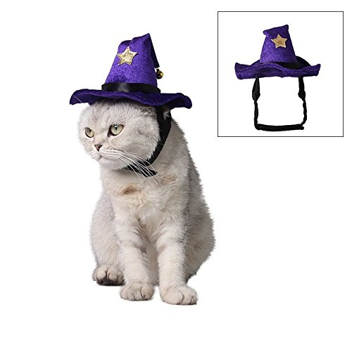 Stock Show Pet Halloween Magic Hat, Purple Witch Cap with Star Decor, Party Costume Headwear Cosplay Accessories for Cats/Kitty/Small Dogs ()