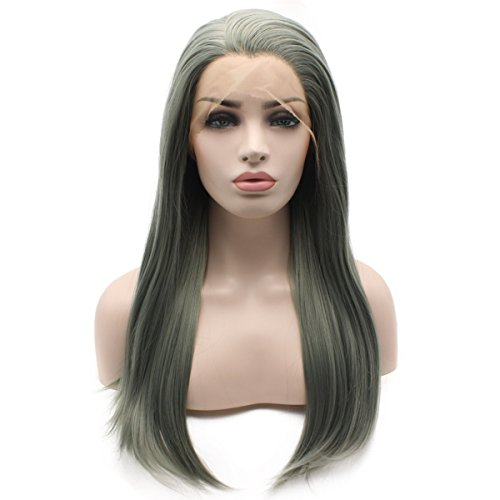 Iewig Gray Green Swiss Lace Front Wigs Long Straight Synthetic Hair Half Hand Tied Natural Wig