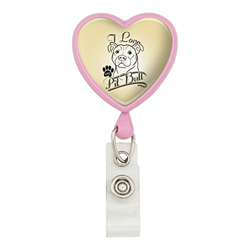 I Love My Pit Bull Heart Lanyard Retractable Reel Badge ID Card Holder - Pink