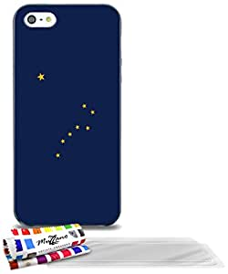 """Carcasa Flexible Ultra-Slim APPLE IPHONE 5 de exclusivo motivo [Alaska Bandera] [Negra] de MUZZANO  + 3 Pelliculas de Pantalla """"UltraClear"""" + ESTILETE y PAÑO MUZZANO REGALADOS - La Protección Antigolpes ULTIMA, ELEGANTE Y DURADERA para su APPLE IPHONE 5"""