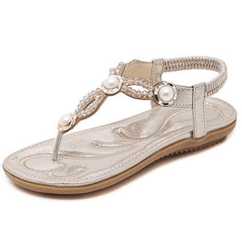 DecoStain Shopping Ankle Sandals Strap Band Flip Elastic Women's Dress Beading Flop T Leisure 8qIw86r