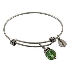 Bella Ryann Adjustable Expandable Silvertone Wire Bangle Bracelet With Birth Crystal Charm - August