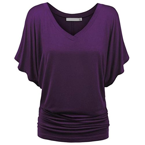 Causel T-Shirt Plus Size Tops Tunic,Women Loose T-Shirt Solid Short Sleeve Tops Deep V Neck Blouse [Clearance] (Purple, XL) from Aurorax