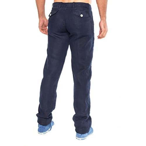 ouxiuli Men Fashion Lightweight Drawstrintg Elastic Waist Beach Pant Linen Trouser