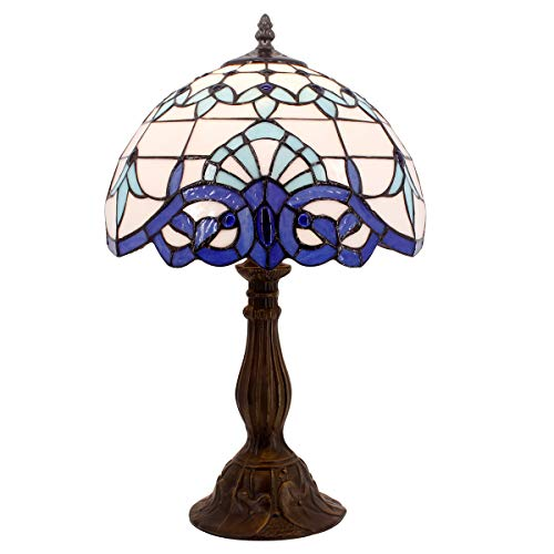 Tiffany Lamp White Blue Baroque Stained Glass Lampshade Antique Style Base Table Lamps Lighting W12 H18 Inch Living Room Bedroom Bedside Desk Lamp S003B ()