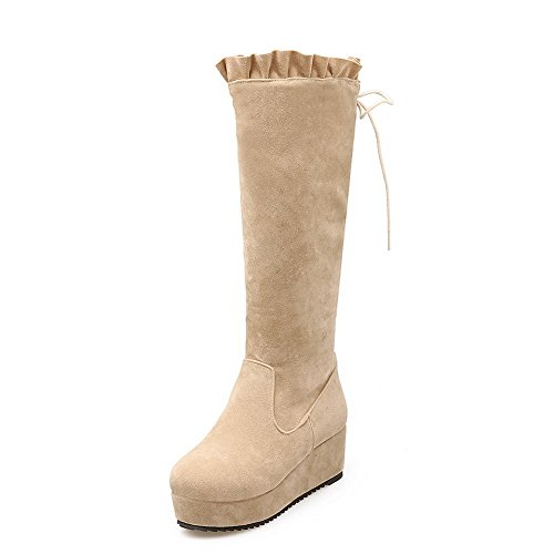 Boots Beige Polartec Toe Solid On Fleece Womens Round Pull BalaMasa 8Yqpwzp