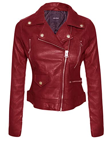 Long Sleeve Zipper Closure Moto Biker Faux Leather Jacket Burgundy 2XL ()