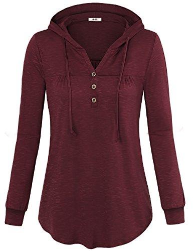 Hoodies Sweater for Women,Vivilli Ladies Hooded Sweaters Long Sleeve V Neck Pleated Pullover Tops Sweatshirt Tunics Wine Medium