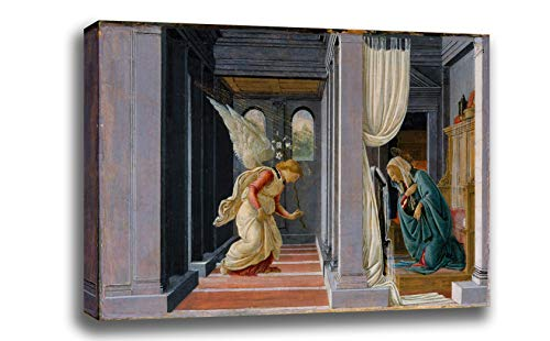 Canvas Print Wall Art - The Annunciation - Sandro Botticelli - Giclee Printed on Stretched Gallery Wrap - 18x11 - Annunciation Botticelli