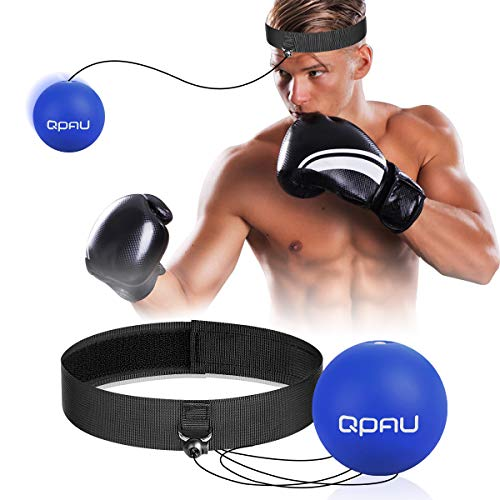 QPAU (Upgraded 2 Pack) Boxing Reflex Ball, Reflex Ball with 2 Difficulty Boxing Ball, 2 Headband, Punching Ball Fight Ball for Speed Reactions, Punching Speed, Fight Skill