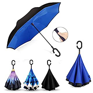 AmbrellaOK Automatic Inverted Umbrella for Car C Shaped Hands Free Handle Reverse Folding Design Lightweight & Windproof – Ideal Gift Men & Women