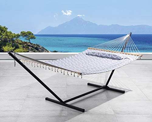 SUNCREAT 2 Person Double Hammock with 12 Foot Steel Stand, Includes Quilted Fabric Bed and Pillow, Grey