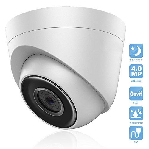 IP POE Camera, Savvypixel 4.0MP Security Dome Camera, Waterproof Outdoor & Indoor Surveillance Camera With Day & Night Vision
