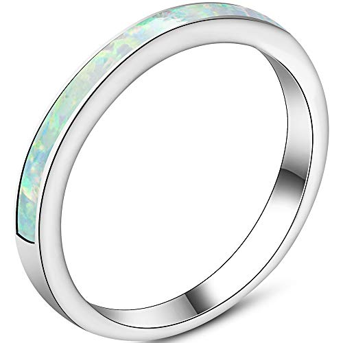 (Jude Jewelers 4mm Stainless Steel Fire Opal Inlay Half Eternity Wedding Band Ring (White, 8))