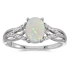14k White Gold Oval Opal And Diamond Ring (Size 4.5)