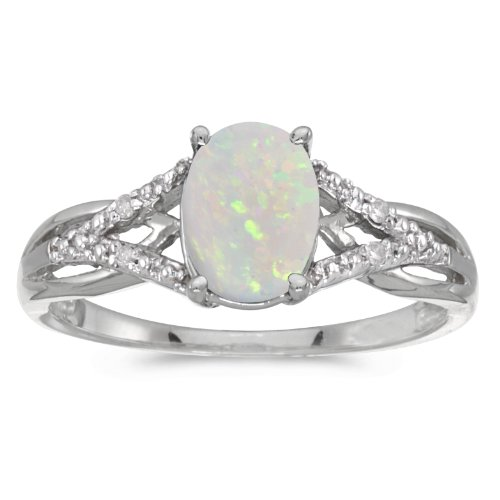 14k White Gold Oval Opal And D