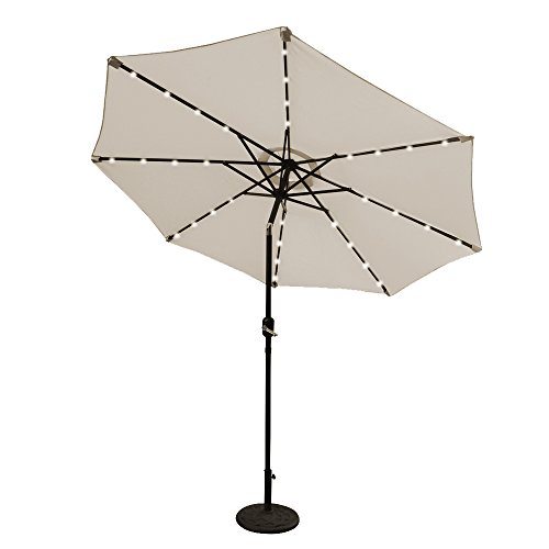 ABCCANOPY 9 FT Solar Powered Patio Umbrella 32LED Lights Solar Umbrella with Tilt and Crank (Light Beige)