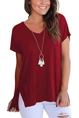 Womens T Shirts Short Sleeve V Neck Tops and Blouses Casual Fit Top Tees Wind Red M