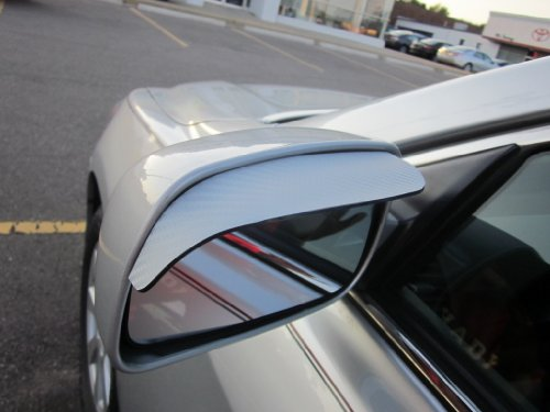 1988-1996 JAGUAR XJS XJ-S SILVER CARBON FIBER SIDE MIRROR VISOR RAIN GUARDS 1989 1990 1991 1992 1993 1994 1995 88 89 90 91 92 93 94 95 96 by true-line