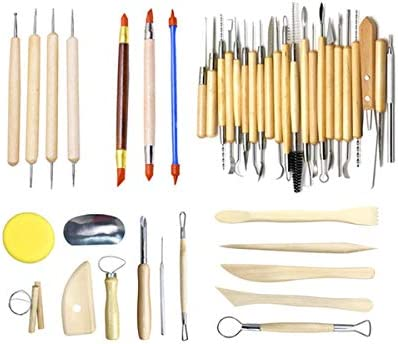 مجموعة أدوات النحت من الطين والفخار من 42 قطعة من أدوات نحت الكرة أدوات تنقيط قلم الكرة مجموعة تشكيل الفخار الطيني طلاء صخري Amazon Ae