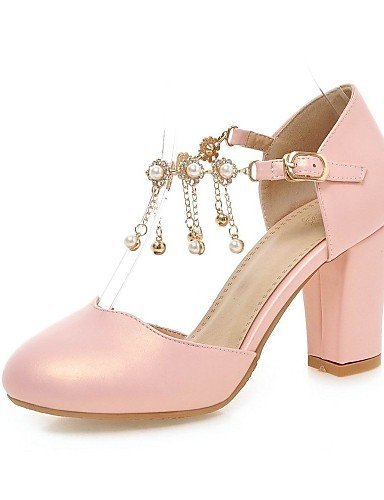 ShangYi Women's Shoes Patent Leather Chunky Heel Heels / Comfort Heels Office & Career / Casual Pink / White / Almond pink aY8cE3