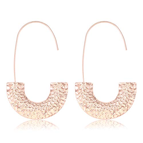 MOLOCH Statement Wire Drop Dangle Earrings Punk Chunky Metal Hoop Earrings Fashion Jewelry for Women Girls (Rose Gold)