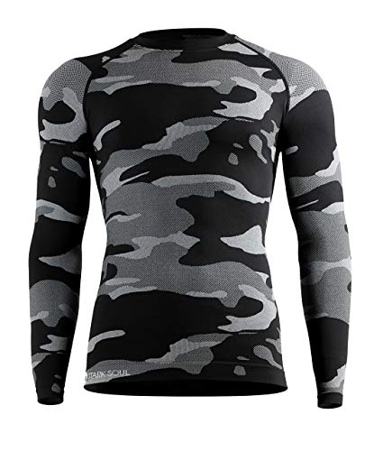 STARK SOUL Camouflage Functional Thermal Underwear Breathable Active Base Layer Set (Shirt/Black, S/M)