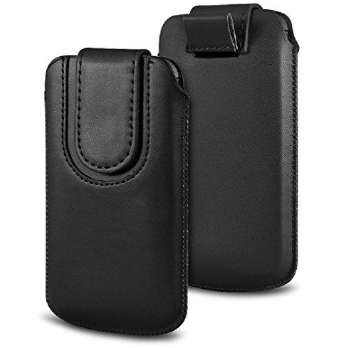 Deet® Étui en cuir PU avec languette magnétique pour iPhone 6et iPhone 6S Noir