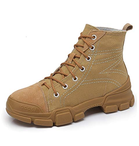 Leder Fashion Stiefel Boots Damen Tooling Koreanische Toe Damen Booties Stiefel Stiefel Casual LIANGXIE Stiefeletten Martens Studenten Damen Outdoor Beige Shoes High PYpqv