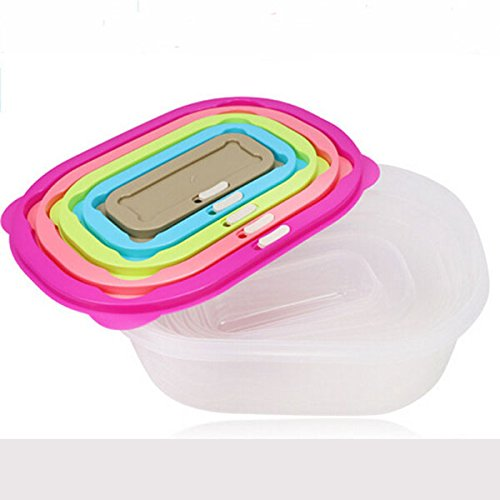 Sealed Crisper (5PCS Plastic Transparent Sealed Crisper Moistureproof Square Food Storage Box Kitchen Containers)